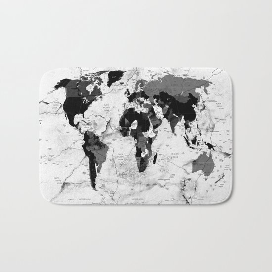 world map political marble Bath Mat