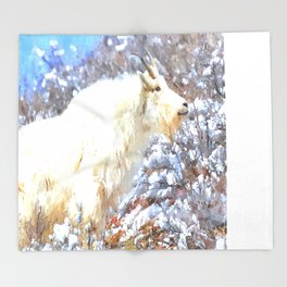 Mountain Goats In the Alpine Wyoming Mountain - Rocky Mountain Goat Throw Blanket