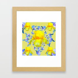 YELLOW & BLUE-WHITE IRIS BLACK ABSTRACT PATTERN Framed Art Print