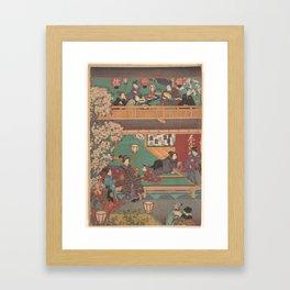 Japanes Print Early Evening in Yoshiwara Inn Framed Art Print