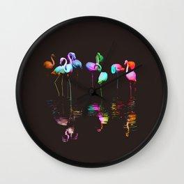 Rainbow Flamingos Wall Clock