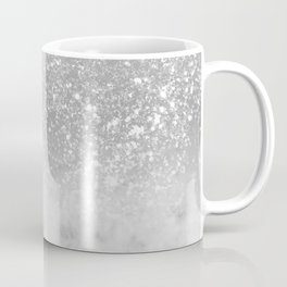White Marble Silver Ombre Glitter Glam #1 #shiny #gem #decor #art #society6 Coffee Mug