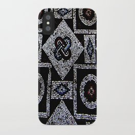 Black White Blue Red Mosaic Print iPhone Case