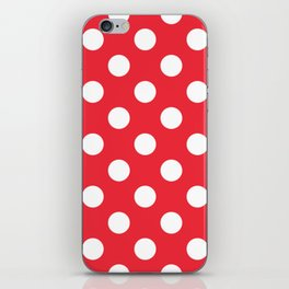 Red (Pantone) - red - White Polka Dots - Pois Pattern iPhone Skin
