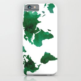 World Map Vibrant Green Earth iPhone Case