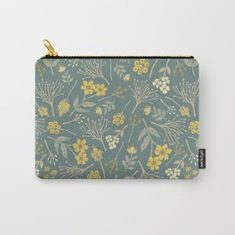 Yellow, Cream, Gray, Tan & Blue-Green Floral Pattern Carry-All Pouch