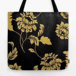 Victorian Floral (Black & Gold) Tote Bag