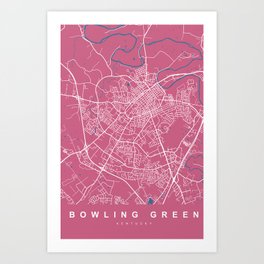 Bowling Green Map Kentucky | Pink | More Colors, Review My Collections Art Print