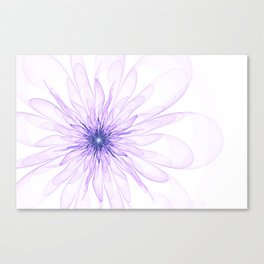 Pink flower on white background with transparent petals Canvas Print