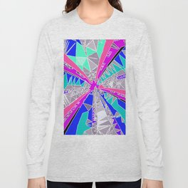 psychedelic geometric pattern drawing abstract background in blue pink purple Long Sleeve T-shirt