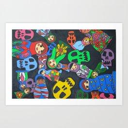 Dolls N Skulls Art Print