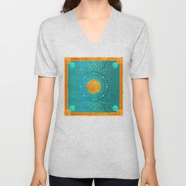 """Turquoise and Gold Mandala"" Unisex V-Neck"