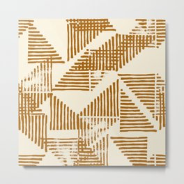 Stripe Triangle Block Print Geometric Pattern in Orange Metal Print
