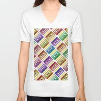 90s V-neck T-shirts featuring 90s pattern by Gabor Nemethi