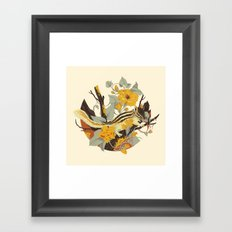 Chipmunk & Morning Glory Framed Art Print