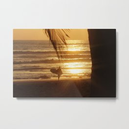 Golden Beach with Surfer (Color) Metal Print