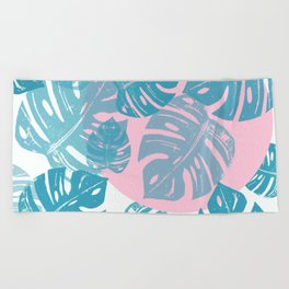 Linocut Monstera Dot Beach Towel