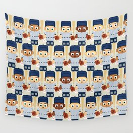 Baseball Pinstripes White and Blue - Super Cute Sports Stars Wall Tapestry