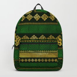 Celtic Knot Decorative Gold and Green pattern Backpack