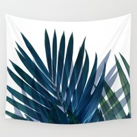 palm Wall Tapestries featuring Palm Leaves by cafelab