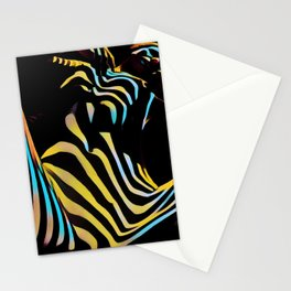 1149s-AK Striped Woman Color Abstract Powerful Nude by Chris Maher Stationery Cards