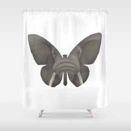 Elephant Butterfly Shower Curtain