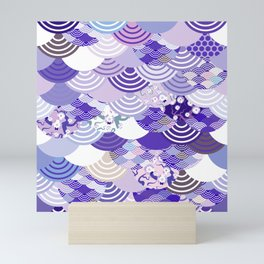 Nature background with japanese sakura flower, Cherry, wave circle. Ultra Violet Color of the Year Mini Art Print
