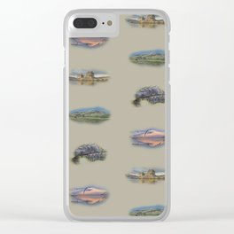 Highland landmarks in beige Clear iPhone Case