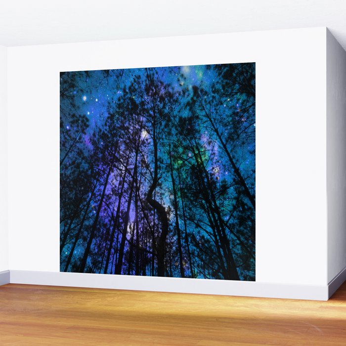 Black Trees Teal Purple Space Wall Mural