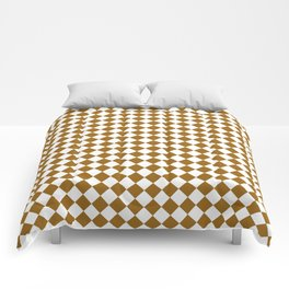 Small Diamonds - White and Golden Brown Comforters