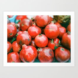 Red pomegranates on a fruit cart in Marrakech Morocco | Colorful travel food photography Art Print