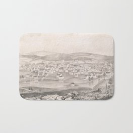 Vintage Pictorial Map of Worcester MA (1837) Bath Mat