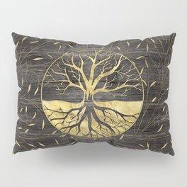 Golden Tree of life on wooden texture Pillow Sham