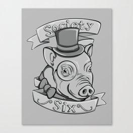 Gentleman Pig (S6 Tee) Black & Gray Canvas Print