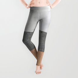 Carrara Marble, Concrete, and Teak Wood Abstract Leggings