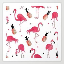Flamingo and Pineapple Tropical Pattern Art Print