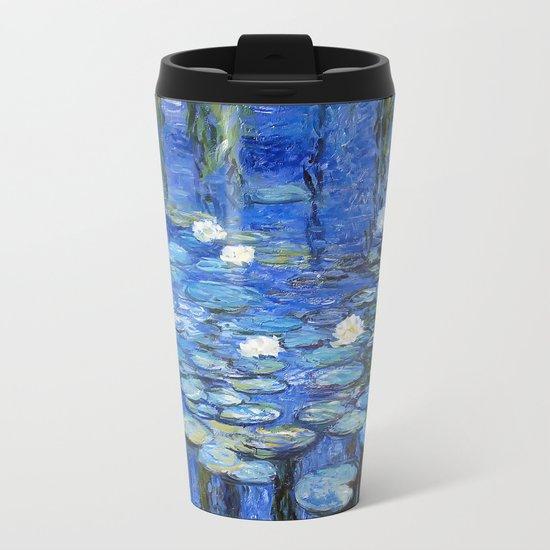 waterlilies a la Monet Metal Travel Mug