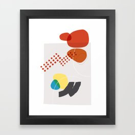 Shape & Hue Series No. 3 – Yellow, Orange & Blue Modern Abstract Framed Art Print