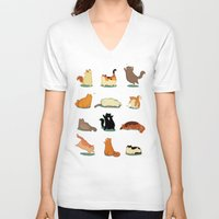 fat V-neck T-shirts featuring Fat Cats by Kecky