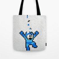 megaman Tote Bags featuring Megaman Tetris by D-fens