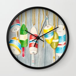 Lobster Buoys Wall Clock
