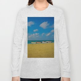 Colorful Boats Adorn the Tranquil Beach Long Sleeve T-shirt
