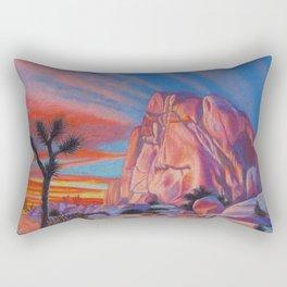 Glowing Joshua Tree sunset as the climbing day draws to a close Rectangular Pillow