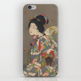 Japanese Art Print - Woman and Fireflies iPhone Skin