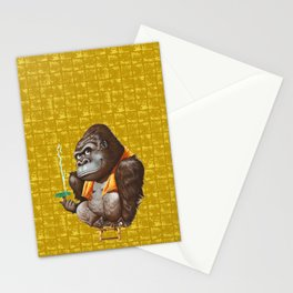 Relaxing Gorilla on Gold-leaf Screen Stationery Cards