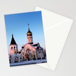 Russian Orthodox church in winter Stationery Cards