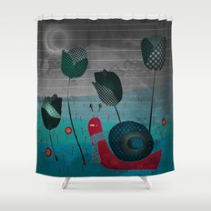 snail in a bad mood Shower Curtain