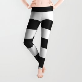 Eerie black - solid color - white stripes pattern Leggings