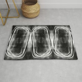 "White on Black Modern Geometric Abstract ""Stacked II"" Rug"
