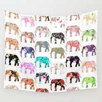 preppy Wall Tapestries featuring Floral Herd by Girly Trend
